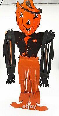Vintage Halloween Beistle Hanging Scarecrow Original 1940s 1960s RARE / MINT