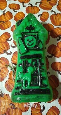 Vintage Halloween Blow Mold Light Up Green Haunted House Rare