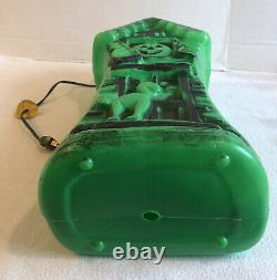 Vintage Halloween Blow Mold Light Up Rare Green Haunted House Mansion 17 Cord
