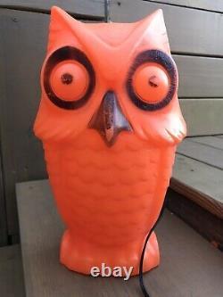 Vintage Halloween Blow Mold Owl Light Up Fall Decoration 13.5 Tico Toys Rare