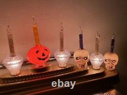 Vintage Halloween Bubble Lights Candolier Candelabra Skulls PUMPKIN RARE