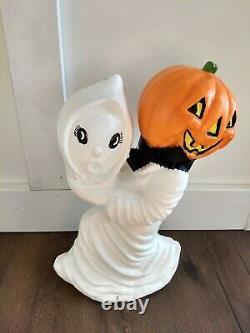 Vintage Halloween Ceramic Pumpkin Jack O Lantern Holding Ghost Rare