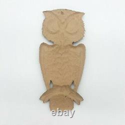 Vintage Halloween Owl on Branch Germany Embossed Cardboard 1940s 1960s RARE