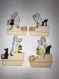 Vintage Halloween Place Cards Set 4 JOL Black Cat Antique Vintage Rare