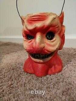 Vintage Halloween Style Devil Head Bucket Candy Container RARE