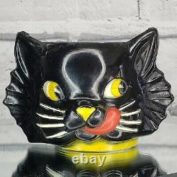 Vintage LUCKY Black Cat Plastic WALL POCKET Cup 1950s Halloween Gothic RARE