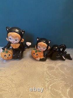 Vintage Lefton Halloween Girl in Black Cat Costume & Pumpkin Figurine Pair Rare