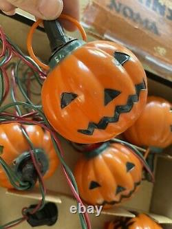 Vintage Noma Hard Plastic Rare Halloween Pumpkin Witch Light Set In Original Box
