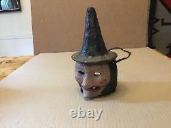 Vintage Rare Halloween German papermache Witch lantern