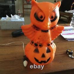 Vintage Rare Halloween Owl on Pumpkin Blow Mold with light 13.5 tall
