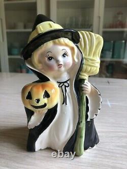 Vintage Relpo Halloween Witch Girl Planter Japan Ceramic Figurine RARE