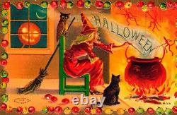 Vintage Taggart Antique Halloween Postcard of a Witch, JOL, Owl, Cat & Pot RARE