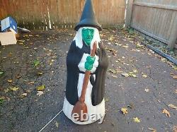 Vintage WITCH With Broom Halloween Empire Blow Mold Light 39 Yard Decoration Rare