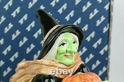 Vtg 1987 Rare Fitz Floyd Halloween Witch Cookie Jar Pumpkin Jack O' Lantern Box