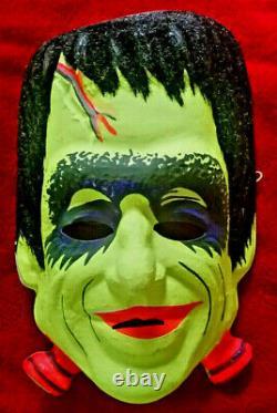 Vtg RARE Flocked Herman Munster Original 1960 Halloween Costume Mask Ben Cooper