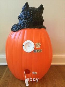 Vtg RARE Halloween Blow Mold Jack-O-Lantern/Pumpkin & Black Cat Lighted TPI 27