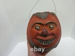 Vtg RARE Paper Mache Halloween Jack O Lantern Pumpkin Candy Container Bucket