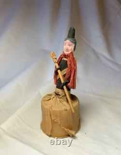 Witch Halloween Candy Container Antique c1930 RARE Nippon Paper Mache Crepe