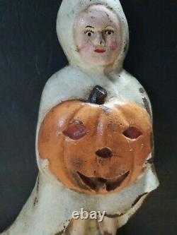 14 Vintage Antique Halloween Girl Handstop Très Rare Saure Graal