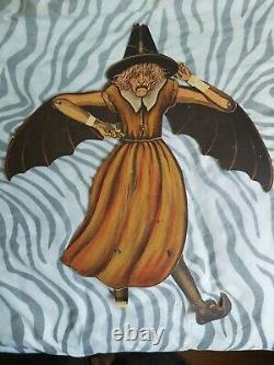 1920's Rare Vintage Halloween Beistle Horrible Sorcière Articulée