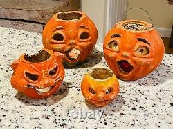 4 Mache De Papier Vintage Chat Et Citrouille Jack O Lanterne Peinture Originale Halloween Rare