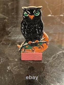 Antique Halloween German Owl & Orange Man Dans La Lune Rare Pièce De Jeu De Skittles