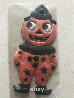 Beistle Allemand Die Cut Jol Clown Rare Embossed Vintage Halloween 1920's