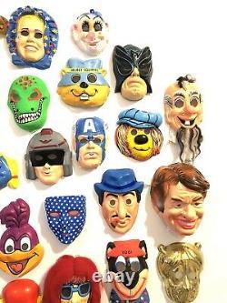 Énorme Halloween Mask Wall Lot Collection 50 Plastic Slimer Rare Vtg Décoration