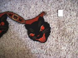 Fantastic Rare Vintage Halloween Cat Banner W 5 Visages De Chat
