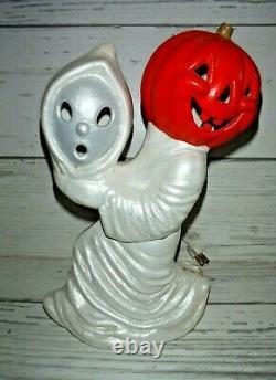 Fantôme Rare De Vtg Avec Halloween Jack O Lantern Pumpkin Ceramic Light Reversed Heads