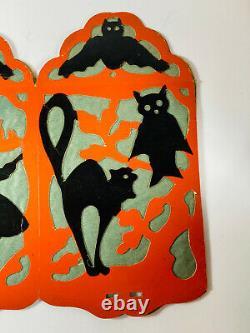 Halloween Vintage 30s Rare Beistle Lampion Chauve-souris Sorcière De Chat Noir Nice Poinçonné