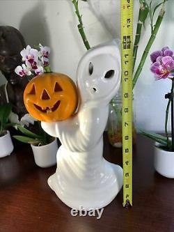 Halloween Vintage Ceramic Ghost Avec Citrouille Jack O Lantern 12 Light Up Rare