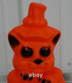 Halloween Vintage Chat Rare Kitten Jack O Lanterne Blow Mold Pumpkin 1960 Jol