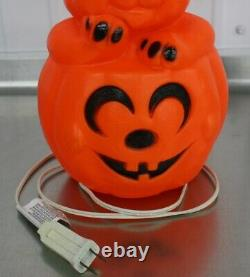 Halloween Vintage Rare Cat Kitten Jack O Lantern Blow Mold Pumpkin Années 1960 Jol