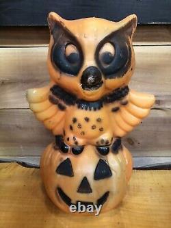 Hibou Rare Vintage Sur La Citrouille Halloween Blow Mold Light Up Jack-o-lantern Années 1960