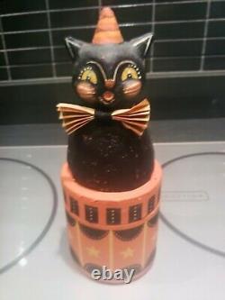 Johanna Parker Vintage Handpainted Halloween Circus Cat Very Very Rare Piece