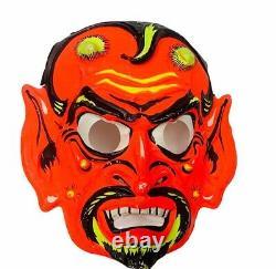 Masque Déguisement D'halloween Vtg Ben Cooper Décoration Diable Satan Rare Lucifer Démon