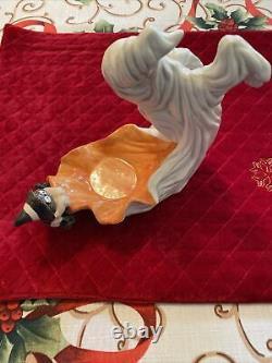 Paire Très Rare De Vtg Fitz Et Floyd Halloween Ghost / Sorcière Spider Candle Holders