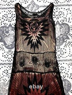Rare Antique Années 1920 Devil Face Beadé Flapper Robe Tulle Net Demon Halloween Vtg