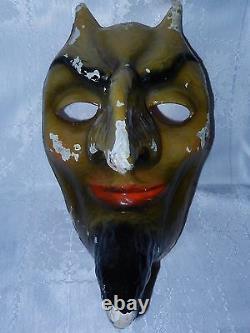 Rare Antique Devil, Vtg Russe Démon Satan Halloween Figure Statue Masque Vieux