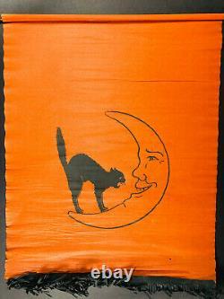 Rare Antique Halloween Crepe Paper Banner Noir Cat & Moon Dennison