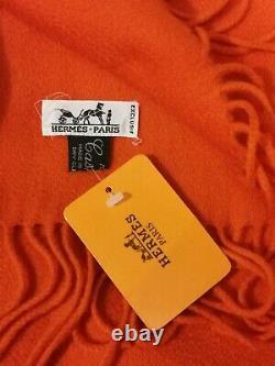 Rare Écharpe Brodée Hermès 40x150cm 100% Cachemire Orange Vintage, Neuve