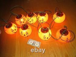 Rare Halloween Blow Mold 5 Pumpkin Jol Strand String Lights Vintage