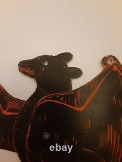 Rare Old Vintage Halloween Mechanical Bat Cardboard Diecut Die Cut Beistle Années 1920