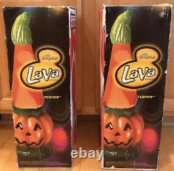 Rare Paire 2 Vintage Halloween Citrouille Lava Lamp New Box Inutilisé Complet