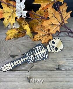 Rare Scarce Vintage Halloween Noise Maker Papier Recouvert De Bois Merri Lei Ny #c1