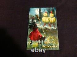 Rare- Vieille Carte Postale D'halloween- Sorcière - Chat Noir & Veggie Personnes-by Valentine