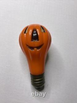 Rare Vieille Halloween Blow Mold Light Bulb Crâne Skelly Pumpkin Jack-o-lantern
