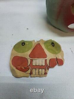 Rare Vieux Papier D'halloween Mache Visage Effrayante Citrouille
