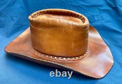 Rare Vintage 100% Cuir Cowboy Hat Possible Custom Hollywood Prop